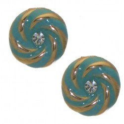 AGNETA gold tone turquoise crystal clip on earrings