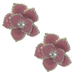 ADABELLE silver tone pink crystal post earrings