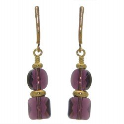 AASHA gold plated amethyst clip on earrings