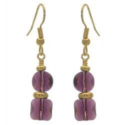 AASHA gold plated amethyst hook earrings