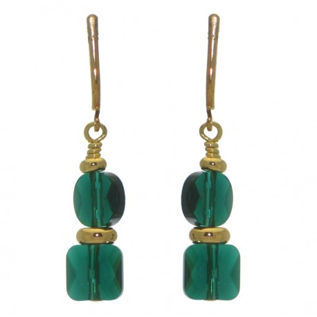 AASHA gold plated emerald clip on earrings