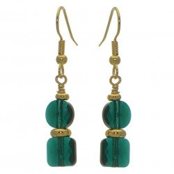 AASHA gold plated emerald hook earrings