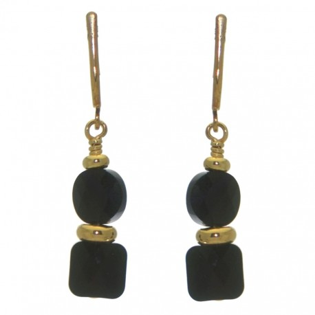 AASHA gold plated jet crystal clip on earrings