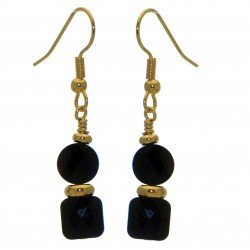 AASHA gold plated jet crystal hook earrings