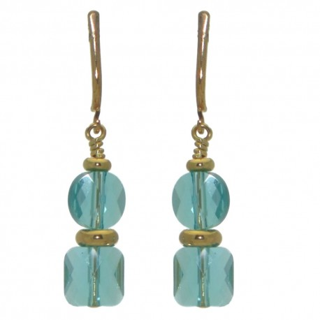 AASHA gold plated light turquoise crystal clip on earrings