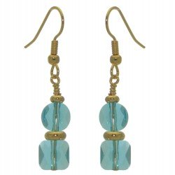 AASHA gold plated light turquoise crystal hook earrings
