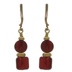AASHA gold plated siam crystal clip on earrings