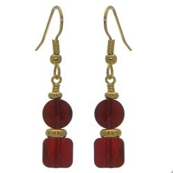 AASHA gold plated siam crystal hook earrings