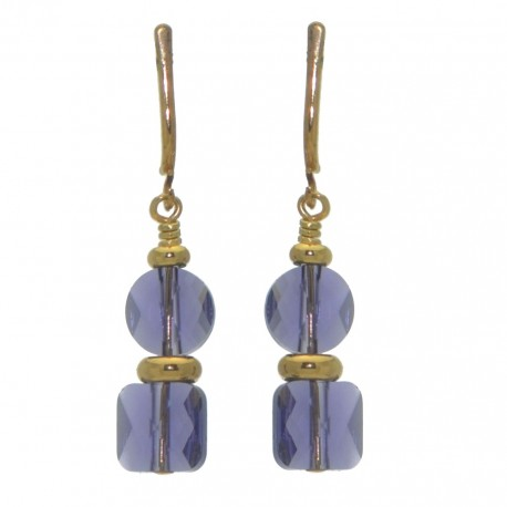 AASHA gold plated tanzanite crystal clip on earrings