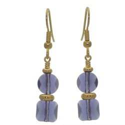 AASHA gold plated tanzanite crystal hook earrings