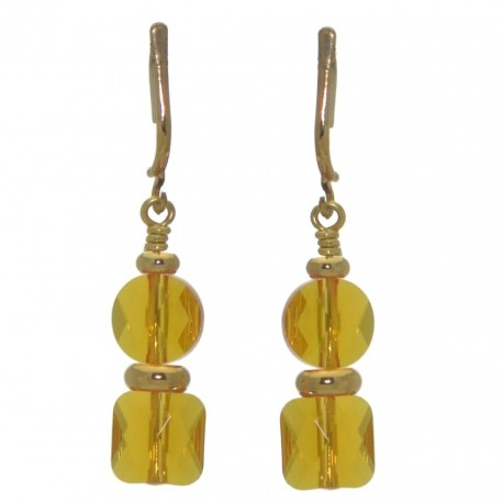 AASHA gold plated topaz crystal clip on earrings
