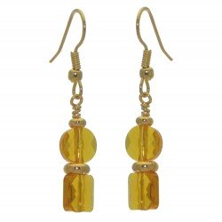 AASHA gold plated topaz crystal hook earrings