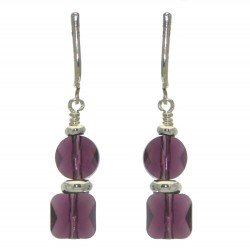 AASHA silver plated lilac crystal clip on earrings
