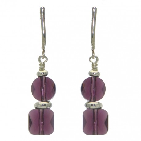 AASHA silver plated amethyst crystal clip on earrings