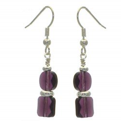 AASHA silver plated amethyst crystal hook earrings
