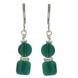 AASHA silver plated bright green crystal clip on earrings