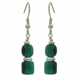 AASHA silver plated emerald crystal hook earrings