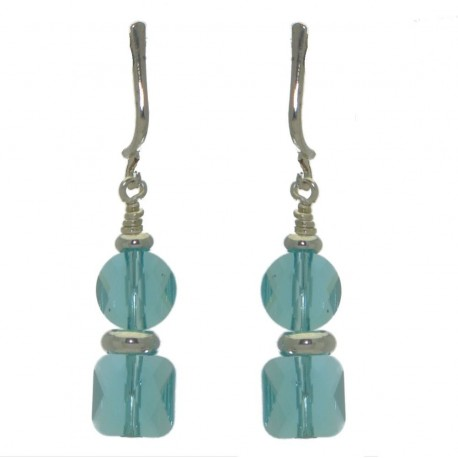 AASHA silver plated light turquoise crystal clip on earrings