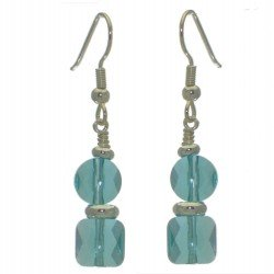 AASHA silver plated light turquoise crystal hook earrings