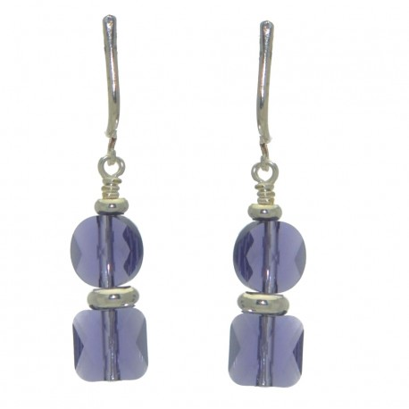 AASHA silver plated tanzanite crystal clip on earrings