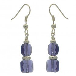 AASHA silver plated tanzanite crystal hook earrings