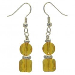 AASHA silver plated topaz crystal hook earrings