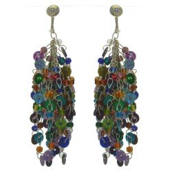 CHRISTELLE silver tone and multi coloured clip on earrings