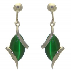 ALLIE silver plated green clip on earrings by Rodney