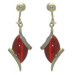 ALLIE silver plated red clip on earrings by Rodney