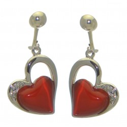 CICI silver plated red heart clip on earrings by Rodney