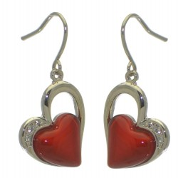 CICI silver plated red heart hook earrings by Rodney