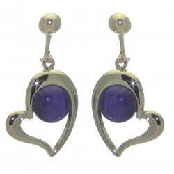 CORRA silver plated heart purple clip on earrings by Rodney