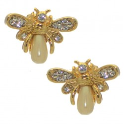 PEARLBEE gold plated crystal clip on earrings by Rodney