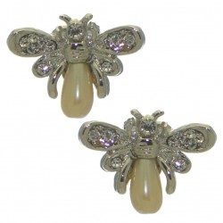 PEARLBEE silver plated crystal clip on earrings by Rodney