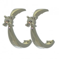 PEYTON silver plated crystal clip on earrings by Rodney