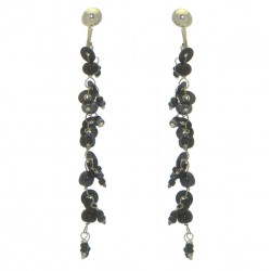FAIRY FOREST black bead and disk clip on earrings