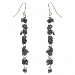 FAIRY FOREST black bead and disk hook earrings