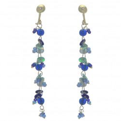 FAIRY FOREST blue bead and disk clip on earrings