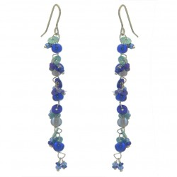 FAIRY FOREST blue bead and disk hook earrings