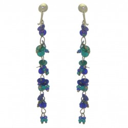 FAIRY FOREST blue and teal bead and disk clip on earrings