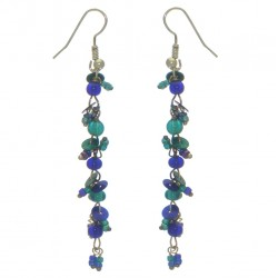 FAIRY FOREST blue and teal bead and disk hook earrings