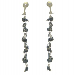 FAIRY FOREST gunmetal bead and disk clip on earrings
