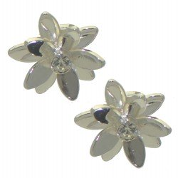 ANGERONA silver plated lotus clip on earrings by Rodney