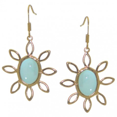 SUNFLOWER gold tone aquamarine hook earrings