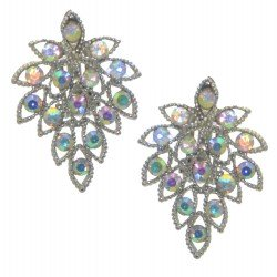 AMELIE silver plated AB crystal clip on earrings