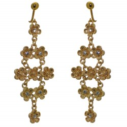 BRADLEE gold plated crystal flower drop clip on earrings