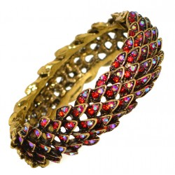 FERNLEY gold plated ruby AB crystal hinged bangle by Alex