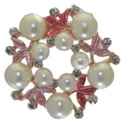 ABUTILON Gold tone pink faux Pearl Crystal Scarf Clip / Brooch