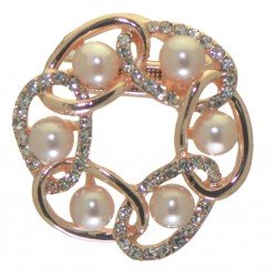ACHILLIA rose gold plated and faux pearl scarf clip