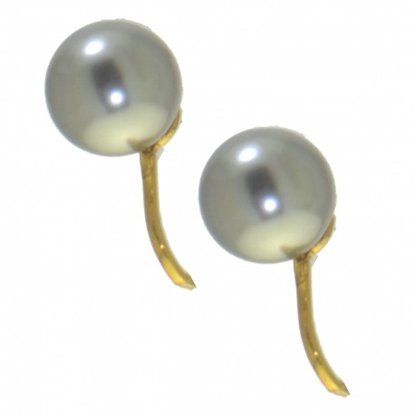 HADRIA 10mm gold plated light grey faux Pearl Clip On Earrings